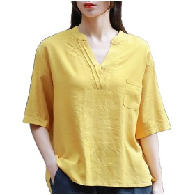 [エンジェルムーン] Vネック カットソー レディース 半袖 五分袖 スキッパー 無地 シンプル ラフ Tシャツ tシャツ おもしろ おしゃれ かわいい レテ゛ィース レディースファッション トップス きれいめ 夏 カジュアル (フリーサイズ, イエロー)