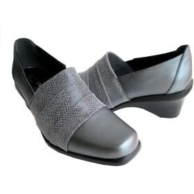 [エアリーステップ] Airy Step 3120 レディース パンプス 天然皮革 スクエアトゥ 仕事靴 通勤靴 (23.0, グレー)