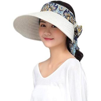 PIITE サンバイザー レディース uv 帽子 UVカット帽子 日よけ帽子 サンバイザー レディース 紫外線対策 日焼け防止 つば広ハット リボン付き 折り畳み可 ハット かわいいカラーA