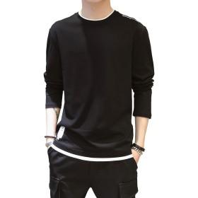 SHANLIANG 夏服 メンズ Tシャツ 半袖 綿 無地 軽い 柔らかい シルエット おしゃれ ファッション 人気 快適 薄手 (長袖-ブラック, XXX-Large)
