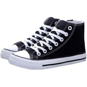 【SOTANET】スニーカー スリッポン カジュアルシューズ 運動靴 軽量 キャンバス ハイカット シンプル 5色展開 (35(22cm~22.5cm), ブラック)