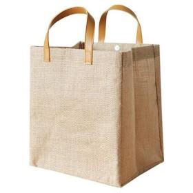 [ジンニュウ] ジュートバッグ 買い物バッグ エコバッグ ジュート ショッピングバッグ 折りたたみ サイクル トートバッグ ジュートバッグ おしゃれ 手提げバッグ カーキ M
