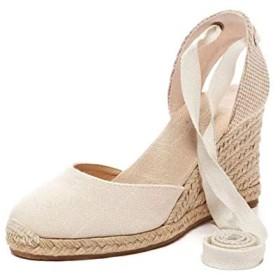 [Yikaifei] 厚底 ウェッジソール サンダル 美脚 レースアップ パンプス ヒール シンプル ハイヒール 結婚式 フォーマル 靴 レディース ストレッチベルト 歩きやすい おしゃれ 可愛い 優雅 厚底 疲れない 軽量 Beige 23.5cm