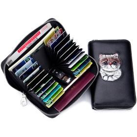 imeetu 長財布 カードケース カード入れ レーディス 24枚収納 牛革 可愛い 猫柄 スキミング&磁気防止 大容量 軽量 (ブルー)