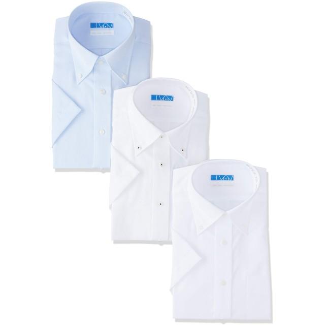 [ドレスコード101] 【半袖 ワイシャツ 3枚 綿100%】高形態安定 メンズ シャツ 形状記憶 ノーアイロン 着心地さらっと ボタンダウン×3枚セット 日本 LL (日本サイズ2L相当)