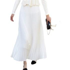 (アブロンダ)ABRONDA スカート レディース プリーツスカート マキシスカート 無地 ロングスカート レディーススカート 着痩せ 体型カバー ウェストゴム 春夏秋 6色選択