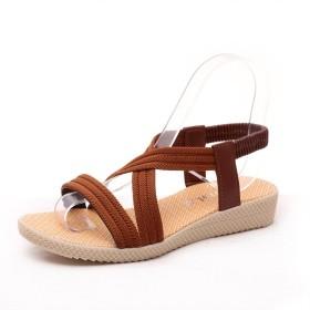 [Sulida] 女靴 夏靴 ベルト 可愛い ベルト 歩きやすい ヒール 低め 3cm サンダル かかと ゴム レディース 美脚 size 24.5cm (brown)