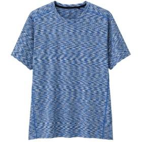 (GU)クルーネックT(半袖)(メランジ)GS BLUE M