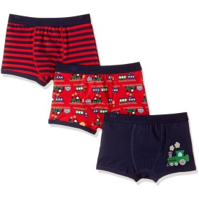 [Vaenait Baby] 2-9歳子供肌着綿100%キッズ男の子下着ブリーフ3枚組パンツショートボクサー Choo Choo Train S (2-3歳)