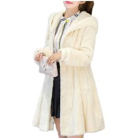 Fly Year-JP 女性冬コートふわふわフォーフ毛皮フード暖かい厚くアウトドアジャケット White S