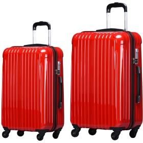 【ラッキーパンダ】luckypanda TY001 スーツケース 2個set ファスナータイプ 【2年保証】機内持ち込み 小型 中型 TSAロック S M 2点セット レッド 赤