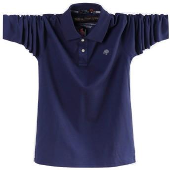 ポロシャツ長袖メンズ おしゃれゴルフウェア スポーツウェア稀少 秋冬 大きいサイズ (紫, 3XL)