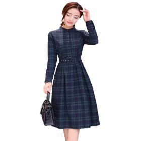 秋と冬の長いセクションで春と秋の長袖シャツドレス腰のチェック柄のスカートの韓国語版 (緑の格子, S)
