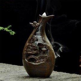 【煙倒流香爐-浴德/蘭亭-陶瓷-直徑8.5/10*高22/19.5cm-1套/組】煙會倒流觀煙陶瓷香爐 塔香座熏香爐 香道用品-7501015