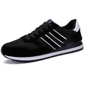 [Fainyearn] スニーカー メンズ スエード ランニングシューズ 運動靴 カジュアル 超軽量 アウトドア ウォーキングシューズ 通勤 通学 四季通用 ブラック 26.0cm