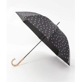 [セスト]紫外線遮蔽率99.9%以上 晴雨兼用 バンブーハンドル ドット柄 日傘 ブラック 21-2096-BLACK