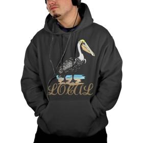 男 大人 ポケット パーカー スウェットパーカー 地元 ペリカン ジャージ スポーツウェア カジュアル 大人気 Black S