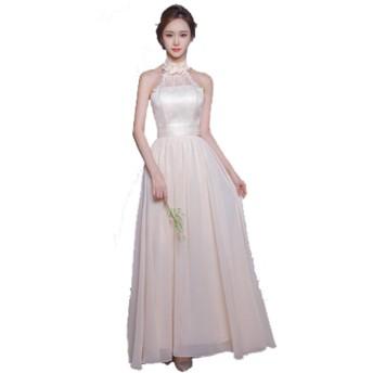 千恵モール ロングドレス ウェディングドレス カラードレス チューブトップ 可愛い ふんわり カラードレス ウェディングドレス 結婚式 二次会 演奏 舞台 ロング (XS, シャンパンC)