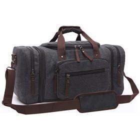Aidonger 定番カラーキャンパスハンドバッグ 大容量の旅行用バッグ (ブラック)