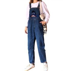 LOOVOOレディース オールインワン デニムサロペット ジーンズ ゆったり 可愛い 驴 学生 街着 カジュアル パンツ (BE-XL)