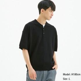 (GU)ニットポロシャツ(半袖)CL BLACK S