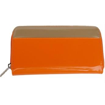 ysp-jpn ラウンドファスナー バイカラー エナメル 財布 レディース YW-EN-A004 オレンジ