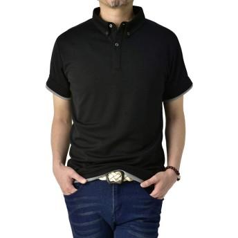 (フラグオンクルー) FLAG ON CREW ポロシャツ メンズ 半袖 ボタンダウン クレリック衿 吸汗速乾 ポロ ストレッチ / C4Y / M ブラック・00