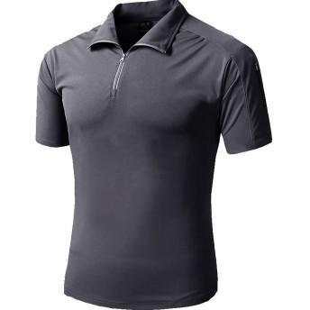 TACVASEN メンズ アウトドア スポーツ T-シャツ タクティカル ポロシャツ 折り襟 トレーニングウェア 速乾性 迷彩 半袖 グレー M