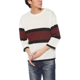 [ウィゴー] WEGO バー ライン セーター ニット 7分袖 M ホワイト メンズ