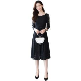 (ロンショップ)R.O.N shop エレガント レース 刺繍 ドレス ウエスト リボン 付き 膝下 オールインワン 上品 白 黒 (ブラック,M)