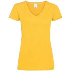 レディース バリュー フィット Vネック ショートスリーブ カジュアル 半袖 Tシャツ 女性服 (S) (ゴールド)
