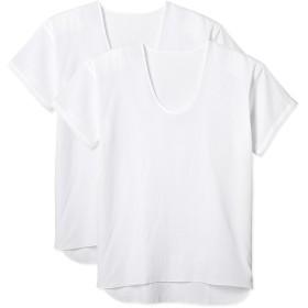 [グンゼ] インナーシャツ 半袖U首シャツ クレープ ピケ 綿100% 2枚組 CUM116 メンズ ホワイト 日本 L (日本サイズL相当)