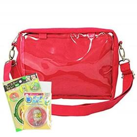 痛バッグ 缶バッチカバー&コースターカバー セット商品 2way ポーチinビニールショルダーバッグ コンパクトサイズ レッド