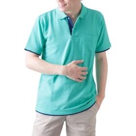 ティーシャツドットエスティー ポロシャツ 半袖 レイヤード 鹿の子 ポケット付き UVカット 5.8oz メンズ ミントグリーン×ネイビー SS