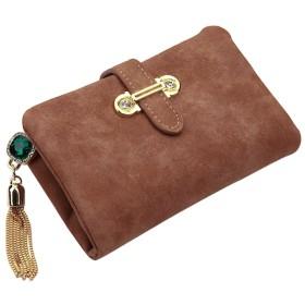 S-BBG ウォレット 可愛い 財布 レディース 二つ折り ビジュー チャーム 小銭入れあり ミニ財布 コンパクト カード収納 ソフト素材 7色選択可