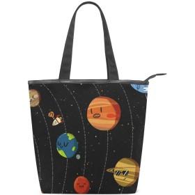 宇宙柄 トートバッグ キャンバス レディースハンドバッグ 多機能大容量 多用途ハンドバッグ 通勤通学 耐久の手提げバッグ おしゃれバッグ