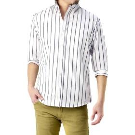 (フラグオンクルー) FLAG ON CREW 7分袖 メンズ カジュアルシャツ ボタンダウン チェックシャツ ストライプ / A0Q / LL ストライプ・ホワイト