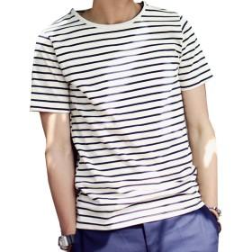 (マーシェル) Marshel メンズ カットソー Tシャツ 半袖 ボーダー Uネック きれいめ お洒落 ブラック XXL
