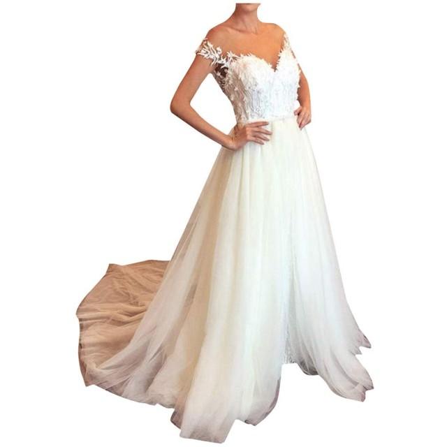 花嫁 ドレス お呼ばれ ドレス 結婚 式 披露宴 二次会 ワンピース レディース パーティー夏 洋服 きれいめ 大きいサイズ ふんわりフォーマル みもれ丈 刺繍 スケスケvネック せくしー マキシー