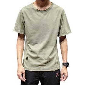 夏服 メンズ Tシャツ 半袖 綿 無地 軽い 柔らかい シルエット おしゃれ ファッション 人気 快適 薄手 浅绿 L