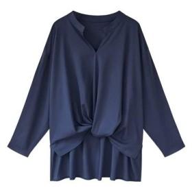 レディース スキッパーシャツ 袖ボタン付き 長袖 カシュクール ブラウス (ブルー, XL)