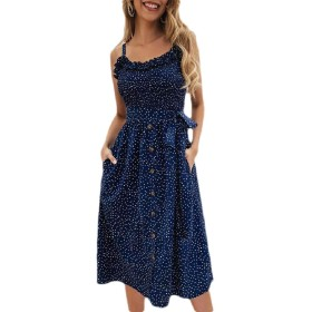 maweisong Women Summer Spaghetti Strap Polka Dot Button A-Line Midi Dress with Belt 1 M