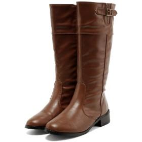 [フェリシア フェリーチェ] サイドベルトのロングブーツ 25.0cm キャメル茶色