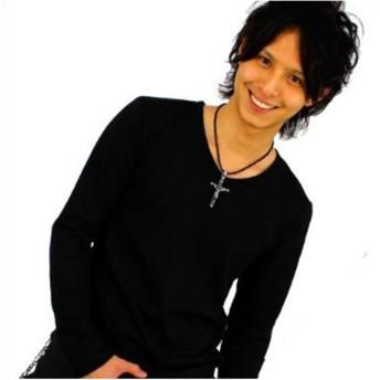 スワンユニオン swanunion f46 S VネックTシャツ メンズ長袖 ブラック黒 細 タイト f46-S