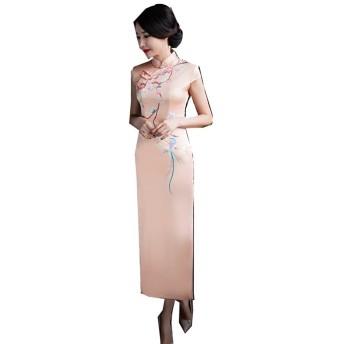 (上海物語)Shanghai Story 人造 シルク チャイナドレス ワンピース 中国風 チーパオ 女性 中華ドレス 民族衣装 ロング丈 M 812