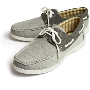 [ラプア カーマ] デッキシューズ ドライビングシューズ スニーカー 靴 メンズ カジュアルシューズ ローカット PUレザー スムース スウェット シューレース メンズシューズ 43(26.5cm) M/Gray-sw