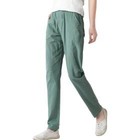 EIMEI 柔らか 履き心地 シンプル リネン パンツ 涼しい 大きいサイズ レディース ズボン 九分丈パンツ 選べる M~XXL (L, グリーン)