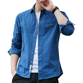 [YFFUSHI] メンズ ワイシャツ yシャツ 綿 長袖 S-3XL 無地 5色 黒