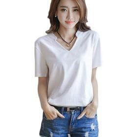 GuDeKeレディース Vネック 半袖 Tシャツ トップス カットソー オシャレ 人気 デザイン(ホワイト2.1.1)