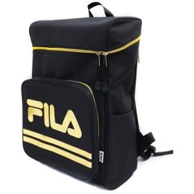 FILA フィラ BOX ボックス型 バックパック スクエア リュック 10colors リュックサック 大容量 サイドポケット サイドジッパー あり ブラック x ゴールド